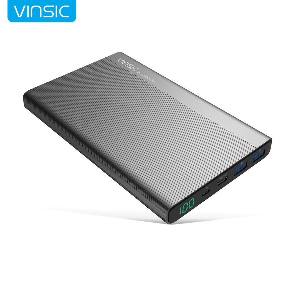 Vinsic 20000 mAh Energienbank 2.4A Dual USB Typ C FÜHRTE Dispaly Externe Ladegerät für iPhone X 8 8 Plus Xiaomi Huawei Samsung