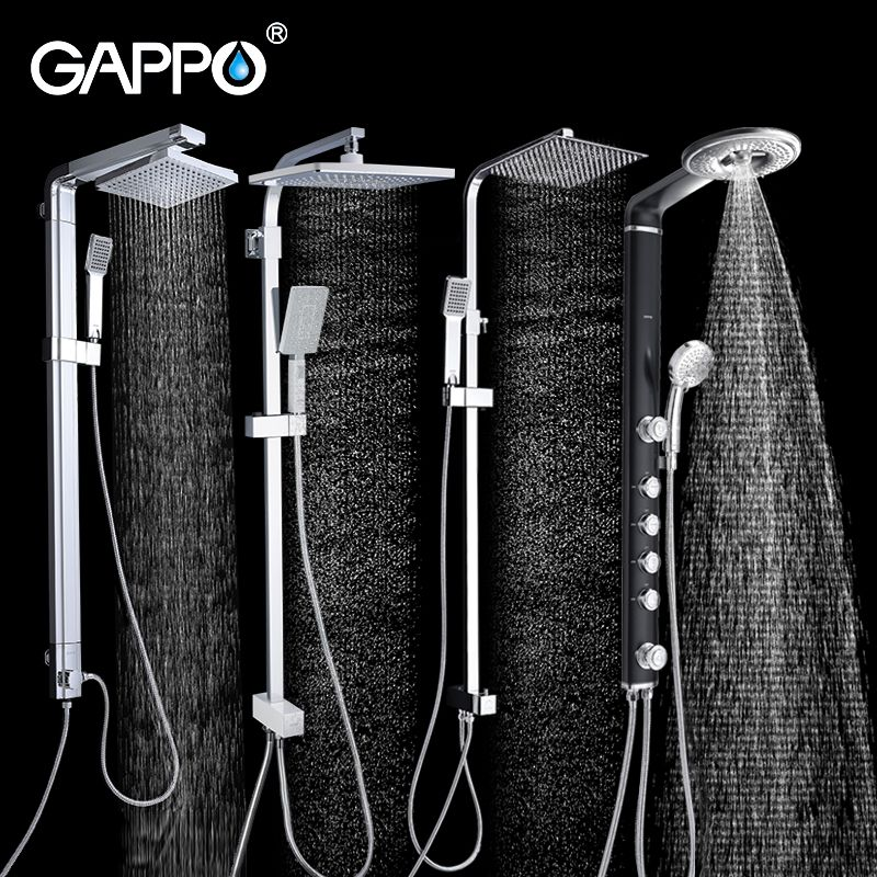 GAPPO bathroom shower faucet wall bath shower faucets set Waterfall wall shower mixer tap set ABS bathtub taps rain shower heads