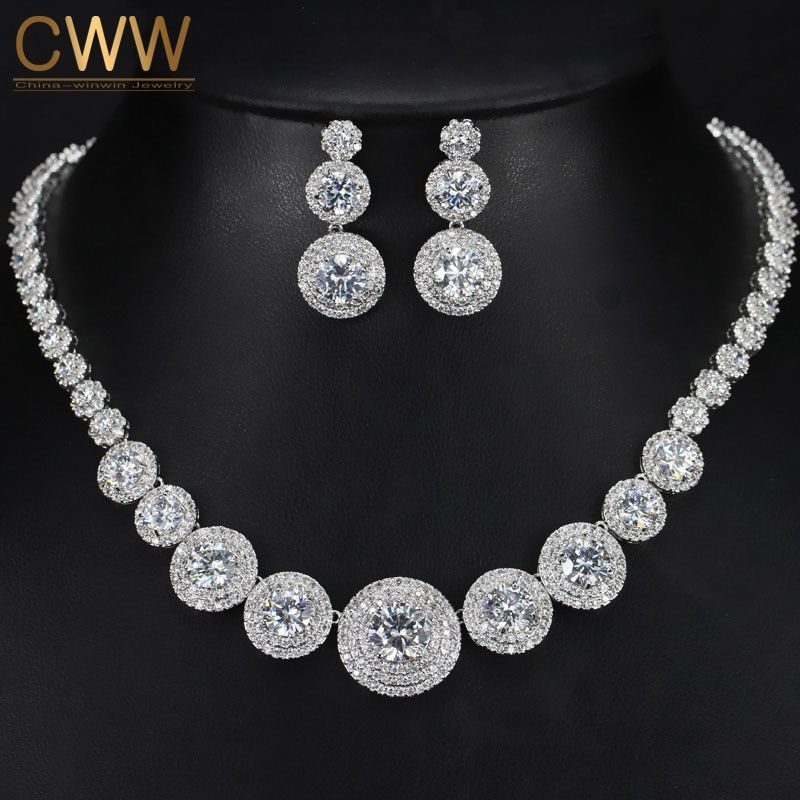 CWWZircons Gorgeous Micro Inlay Full Small CZ Stone Around In Round Cubic Zirconia Women Wedding Jewelry Sets For Brides T239