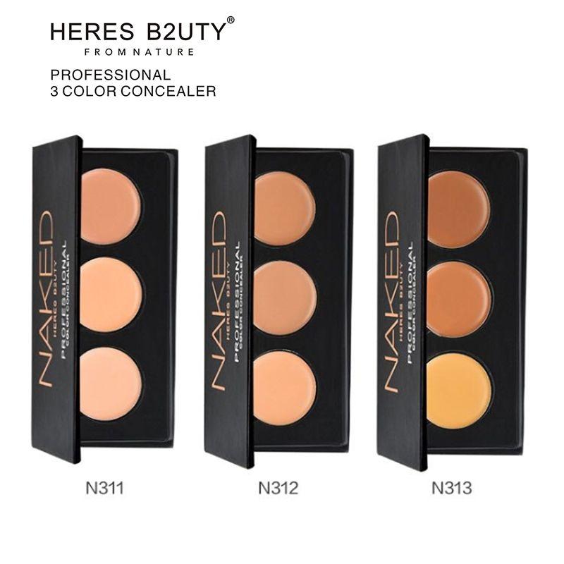 HERES B2UTY 1 PC 3 Couleurs Concealer Professionnel Visage Anti-cernes Crème Contour Palette Maquillage Hydratant Surligneur Camouflage