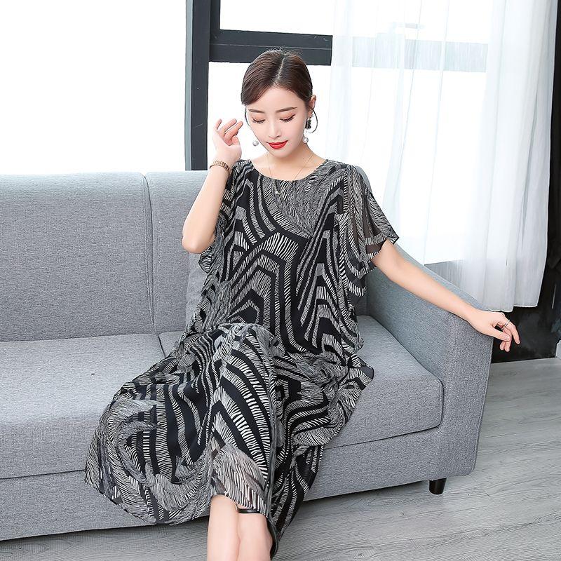 Mode haute qualité 2019 nouveau été femmes robe vraie soie imprimé rétro robe Style chinois lâche décontracté sans manches grande taille