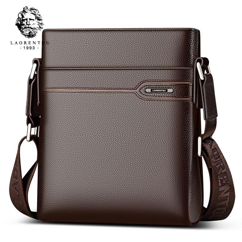 LAORENTOU Cow Leather Men Messenger Bag Casual Business Vintage Men's Bag Genuine Leather Shoulder Bag Crossbody Bag