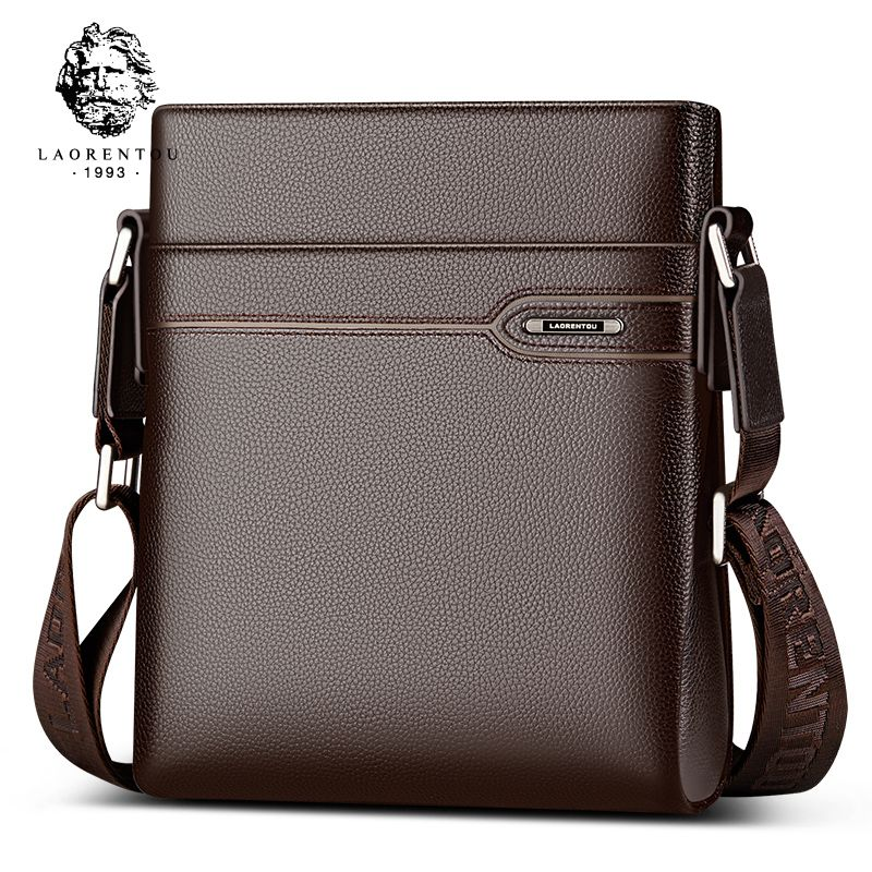 LAORENTOU Cow Leather Men Messenger Bag Casual Business Vintage Men's Bag Genuine Leather Shoulder Bag Crossbody Bag