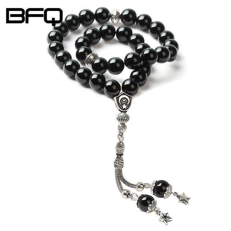 Bfq 100% оригинальный натуральный черный Бусины камень молитвы Бусины мусульманские тасбих Исламской браслет masbaha Misbaha tesbih ns-mr030