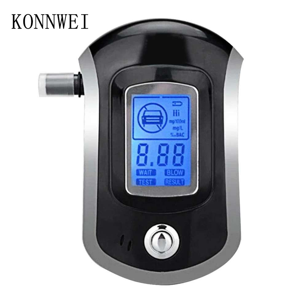 Professional Digital Breath Alcohol Tester Breathalyzer with LCD Dispaly with 5 Mouthpieces AT6000 Hot Selling Drop Shipping