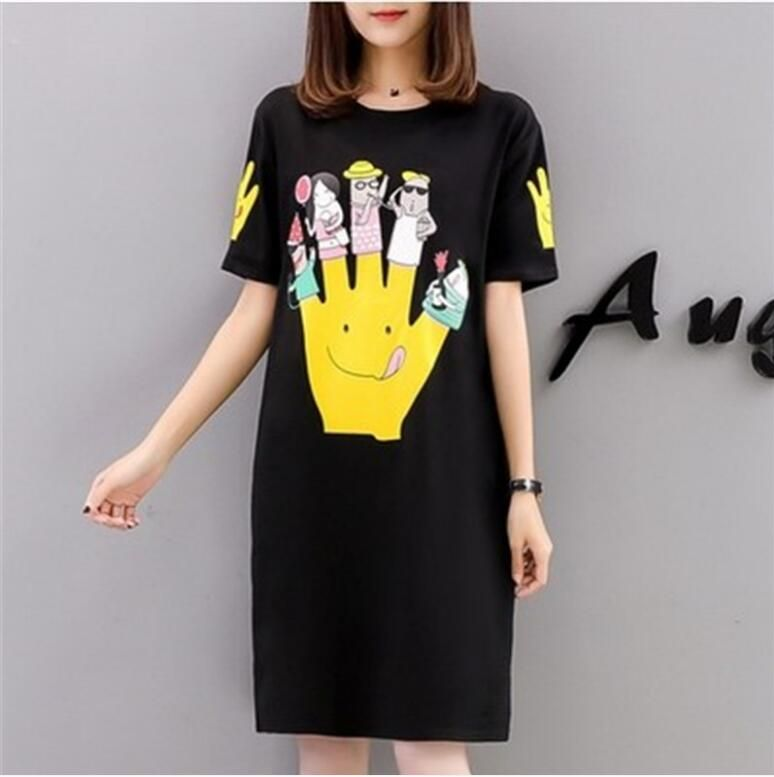 2018 summer south Korean version of the new short-sleeved T-shirt dress loose fat sister medium length top large size women's we