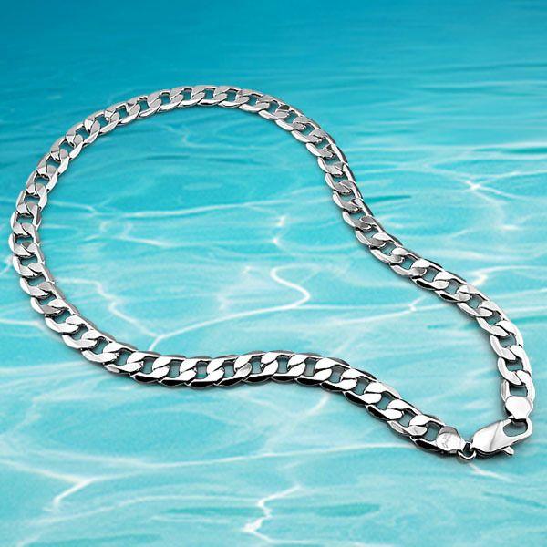 Mode 925 en argent sterling colliers pour hommes. véritable solide pur argent hommes bijoux, version Large 12.5mm hommes chaîne collier