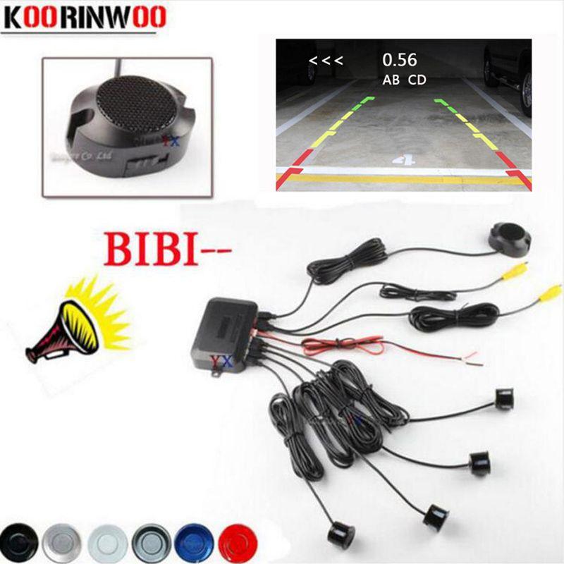 Koorinwoo 2019 capteur de stationnement vidéo de voiture double cœur CPU aide Radar de sauvegarde inverse et alarme de recul afficher la Distance