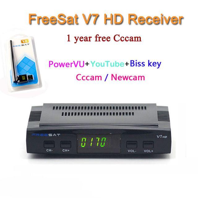 DVB-S2 Freesat V7 Receptor satellite Decoder+USB WIFI with cccam cline for 1 year HD 1080p BISS Key Powervu satellite receiver