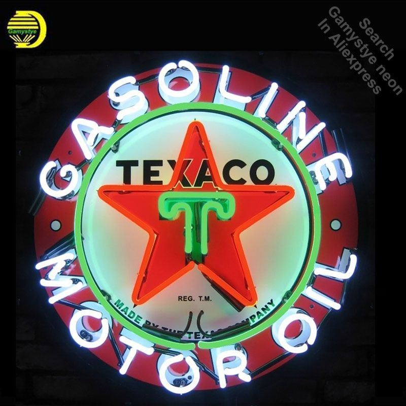 NEON SIGN For Texaco Gasoline REAL GLASS Oil Gas BEER BAR PUB Club display Restaurant Signboard Shop Light Signs Print Board