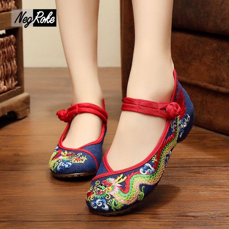 Verano sexy retro dragón chino mujeres simple moda bordado mujeres de primavera casual zapatos para señoras Mary Janes