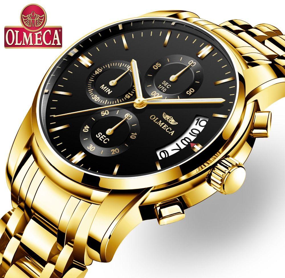 OLMECA Relogio Masculino hommes montre de luxe montres de sport 3ATM étanche horloge chronographe montre-bracelet en acier inoxydable bande Saat
