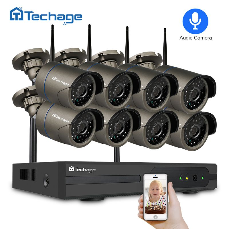 Techage 1080P Wireless CCTV System 2MP 8CH Wifi NVR IP IR-CUT Outdoor Audio Record Camera Security System Video Surveillance Kit
