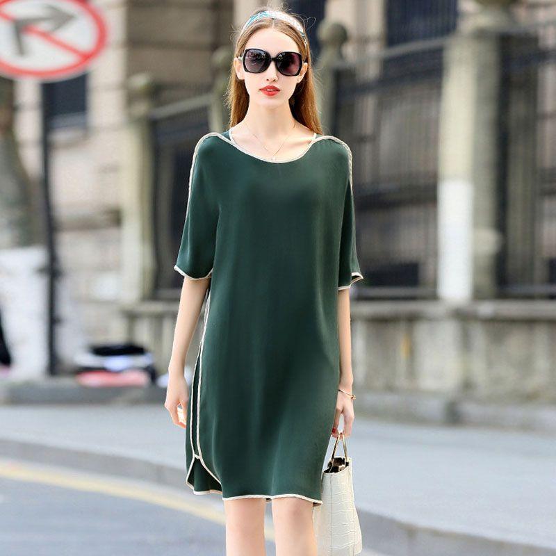 Hohe Qualität Kleid Frauen 100% Schwerer Seide Einfache Design O Neck Halbarm 3 Farben Plus Größen Gerade Kleid Neue Mode 2018