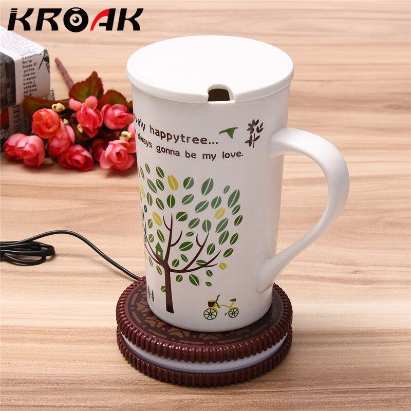 USB-POWERED UK Mat Cup Warmer Milk Heater Coffee Mug Drink Coaster Tea Insulation USB Mug Heating Pad COOKIE Design Cup For Car