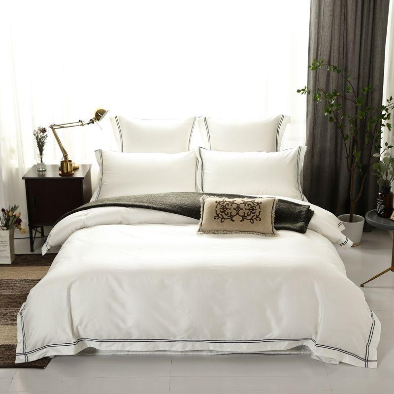 Hotel Luxus Einfarbig Bettbezug Ausgestattet Bett blatt 600TC Ägyptischer Baumwolle Premium Ultra Weiche Bettwäsche set Königin König größe 4/6 Pc