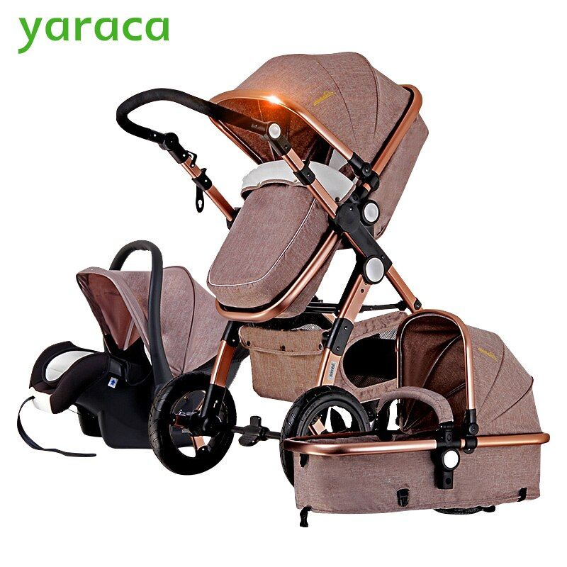 Baby Stroller 3 in 1 with Car Seat For Newborn High <font><b>View</b></font> Pram Folding Baby Carriage Travel System carrinho de bebe 3 em 1