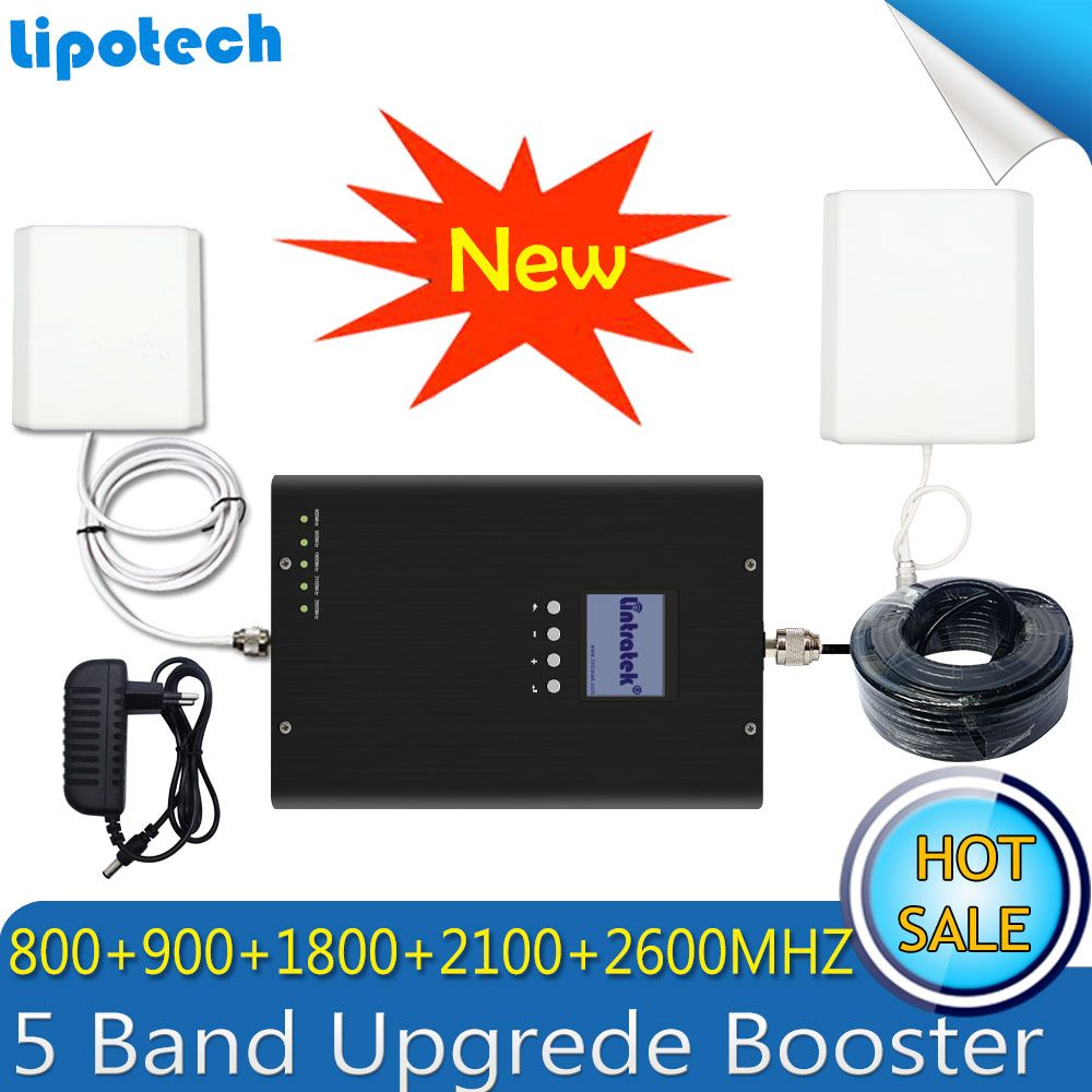 Lintratek LTE 800/2600/1800MHZ WCDMA 2100 GSM 900 5 Band Booster 2G 3G 4G LTE Mobile Signal 4G Antenna Cellular GSM Repeater