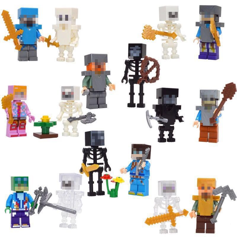 8 Sets/lot My World Figures With Weapons Assembly Legoed Minecraft Building Block Funny Toys Gift For Children #E