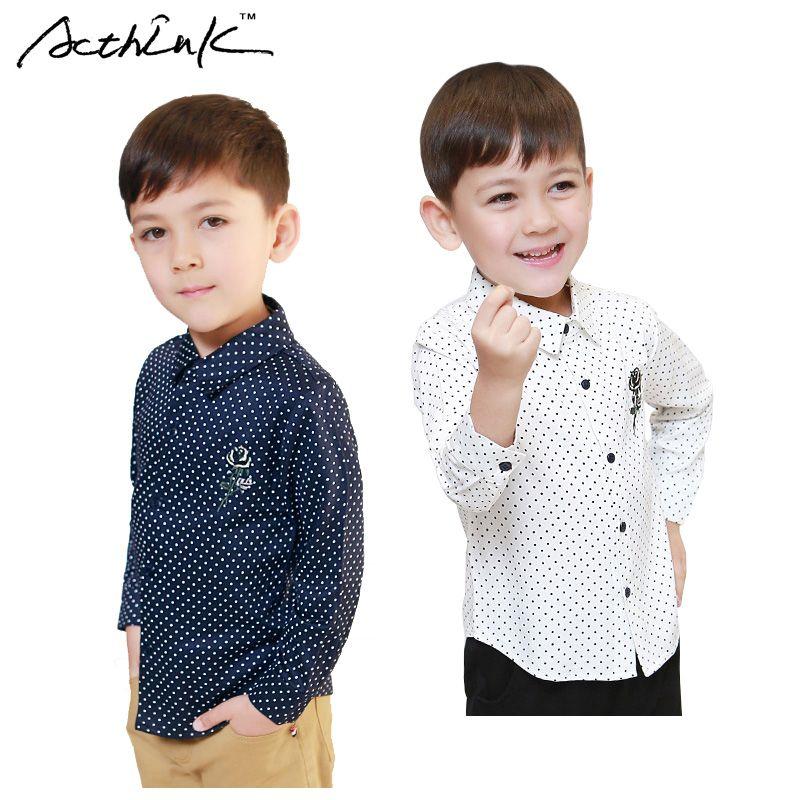 ActhInK doux garçons à pois robe chemises grands garçons broderie fleur 95% coton chemises formelles enfants coréen chemises décontractées, MC213