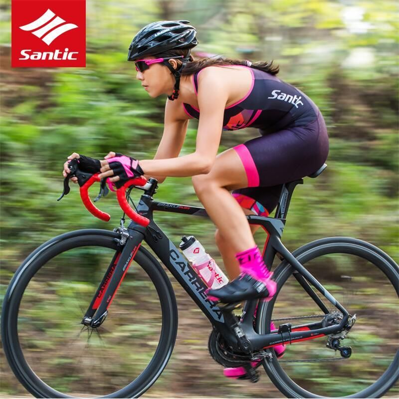 Santic Women Triathlon Cycling Jersey Quick Dry Sleeveless Cycling Skinsuit Bike Jersey Clothing For Swimming Running Riding