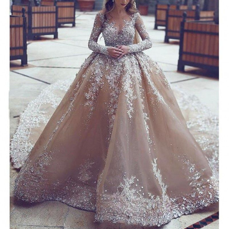 Saudi Arabia Wedding Dresses Stunning Beaded A Line Champagne Bridal Dress Detachable Tail Wedding Dress Gown Long With Sleeves