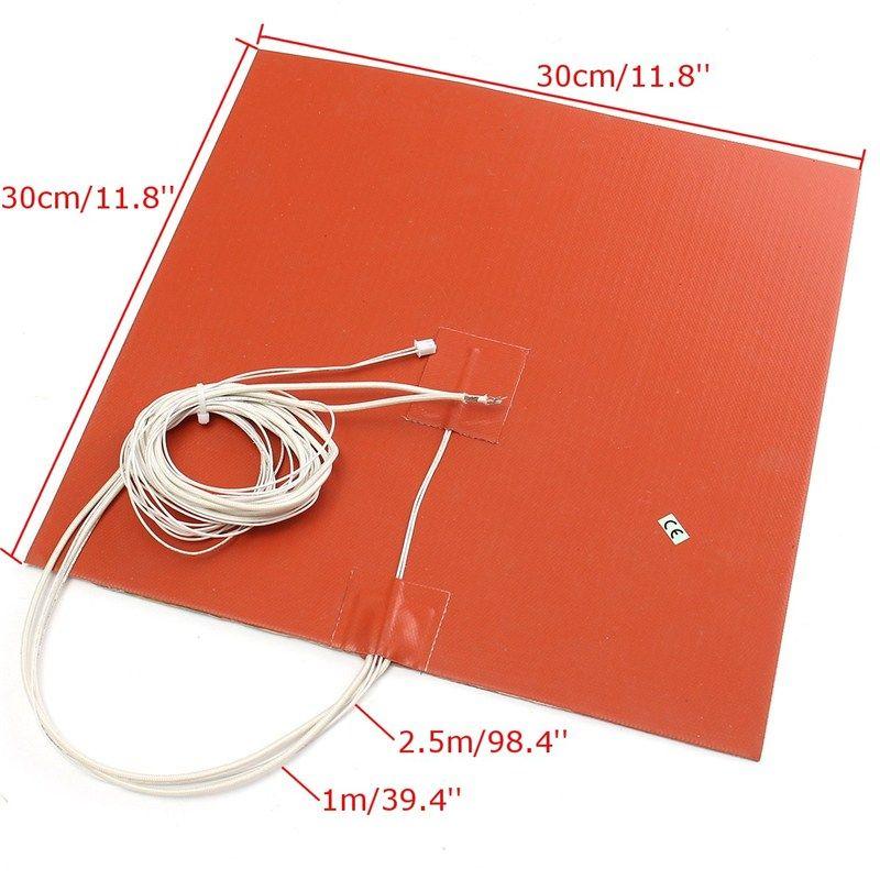 1 Stücke Orange 30X30 CM 750 Watt 220 V Silikon-heizung Bed Pad Thermistor Für 3d-drucker