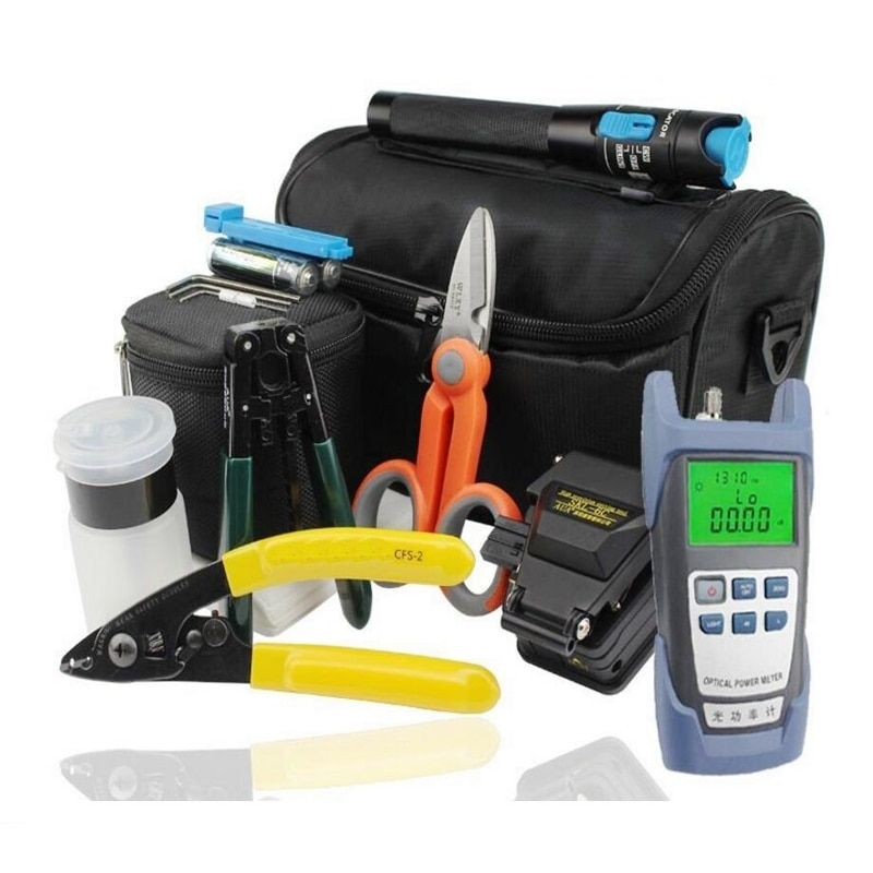 18 In 1 FTTH Fiber Optic Splice Tool Kit with Optical Power Meter and 10MW Visual Fault Locator SKL-6C Optical Fiber Cleaver