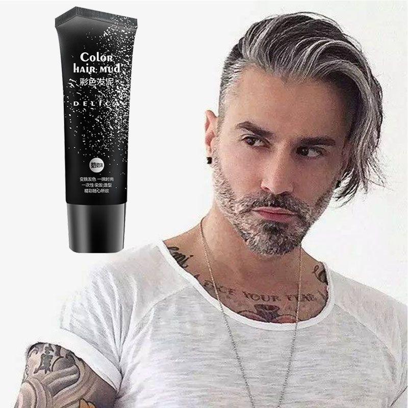 50ml argent gris jetable Gel de couleur de cheveux 6 couleurs pommade de cheveux rapidement Style facile couleur boue de cheveux pour les hommes et les femmes
