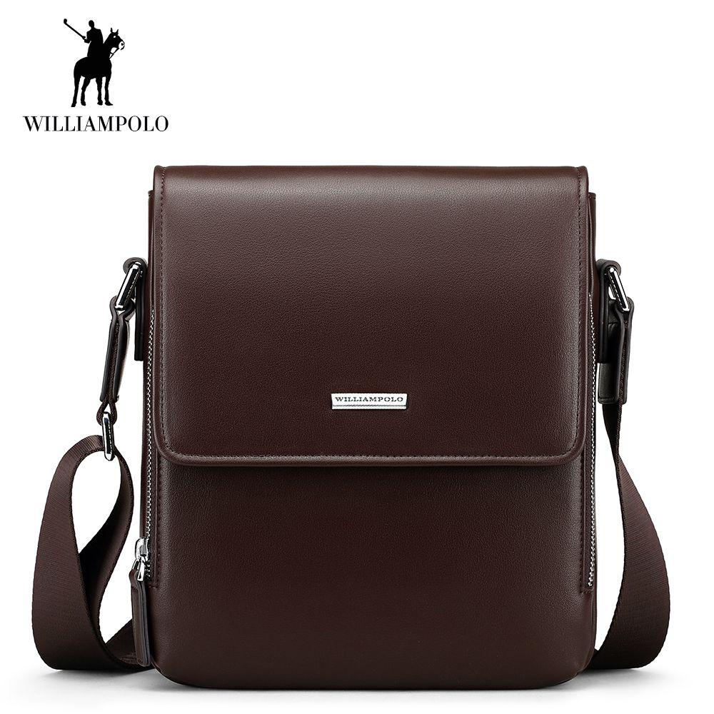 WilliamPOLO Men Shoulder Bag Crossbody Bag PU Leather Adjustable Strap Vintage Casual Sling Messenger Business Briefcase Brown