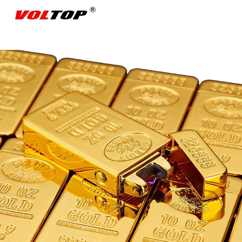 Voltop золотые слитки электрической дуги импульса легче ветрозащитный Авто-прикуриватели USB зарядка помощи Прохладный Благородный насыщенны...
