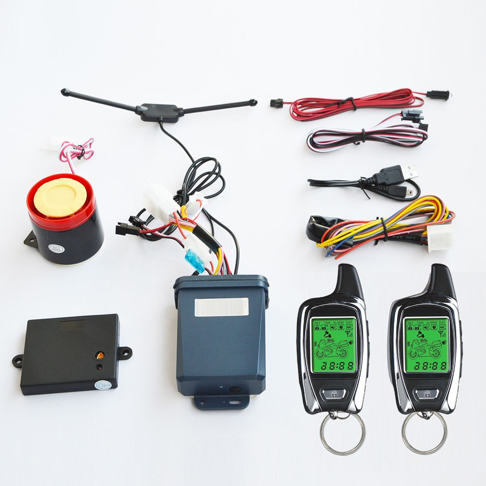 OEM from SPY 2 way Motorcycle Motorbike security alarm system with two LCD transmitters remote engine start & microwave sensor