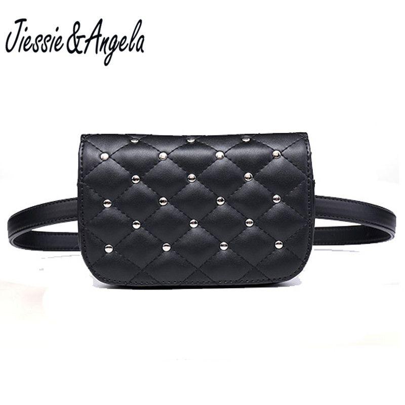 Jiessie & <font><b>Angela</b></font> New Fashion Black Solid Leather Waist Bag For Women Fanny Pack Waist Bag Pouch Phone Bag Bolosa