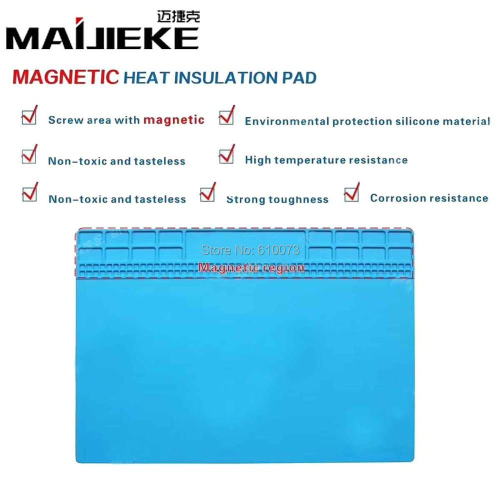 MAIJIEKE 30.5X40.5cm Heat Insulation Silicone Pad Desk Mat Maintenance Platform for BGA Soldering Repair Station with Magnetic