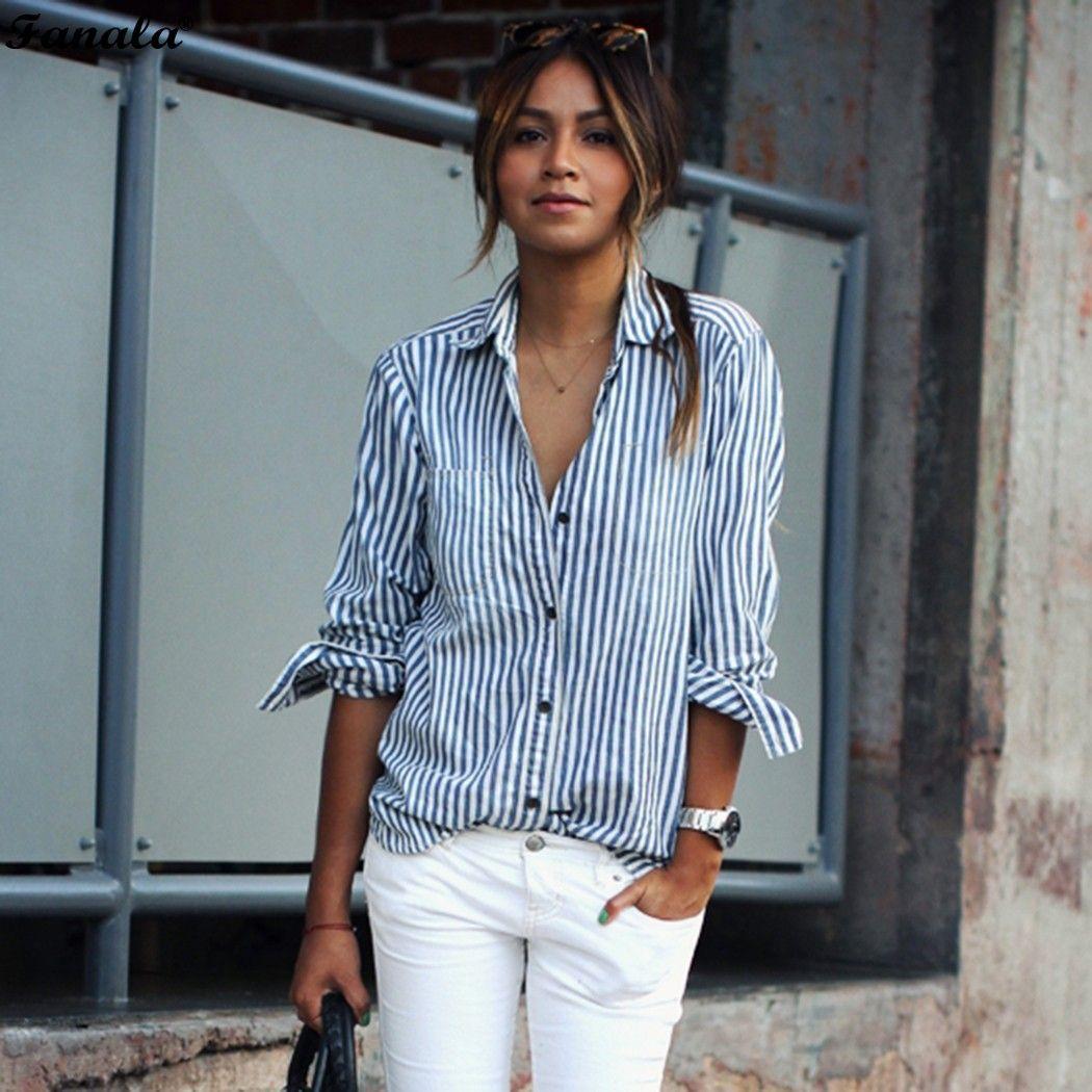 2018 mujeres otoño primavera estilo europeo mujer manga larga rayas camisa de impresión Tops Oficina algodón casual Camisa blusa #30