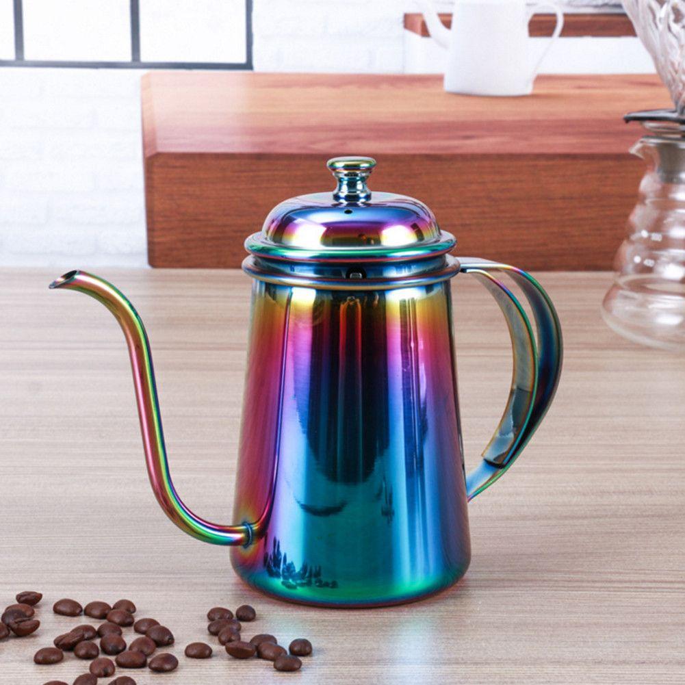 650 ml col de cygne bec café bouilloire verser sur la théière avec couvercle épaissir acier inoxydable téflon revêtement Drinkware pas rouille