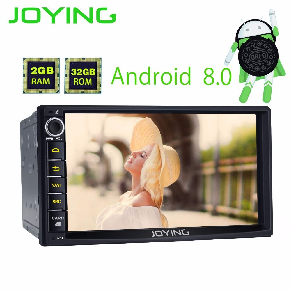 JOYING Latest 2GB RAM 2Din HD 7'' Android 8.0 Universal Car Radio Audio 8 core android auto Stereo GPS Autoradio support Carplay