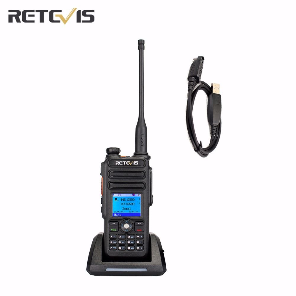 DMR TDMR Digital (GPS) DCDM Walkie Talkie Retevis RT82 Record Dual Band 3000CH IP67 Clock VOX Two Way Radio+A USB Cable A9127