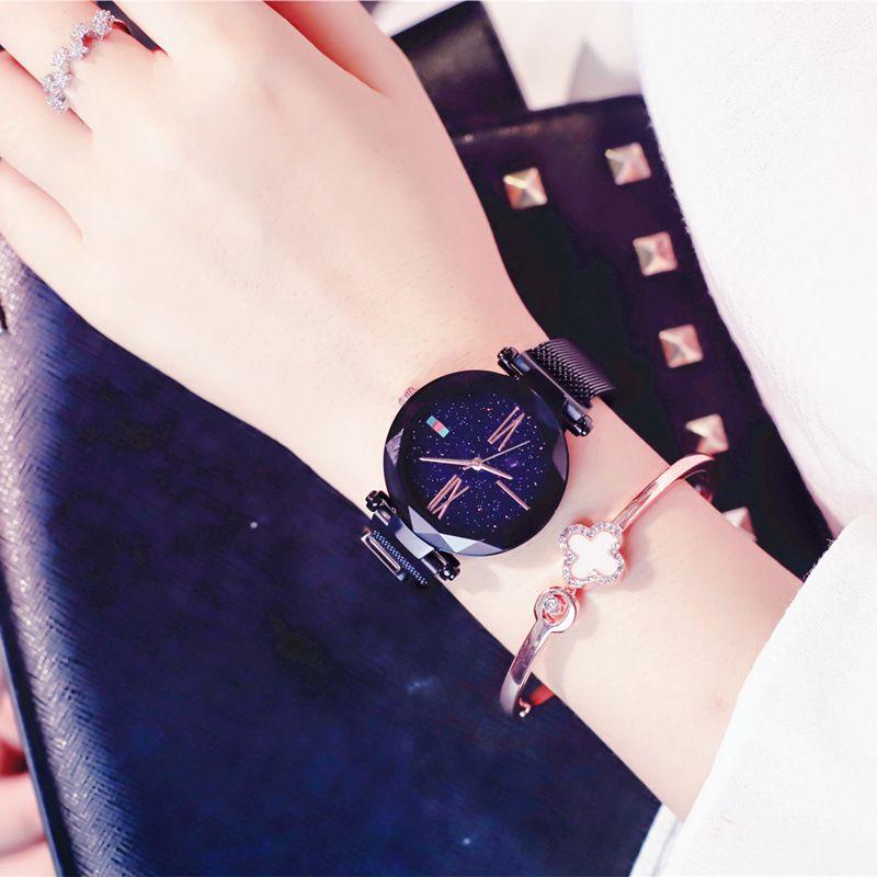Women Casual Watches Black Stylish Starry Sky Magnet Buckle Elegant Lady Watch Fashion Hot Women Gift Clock School Student