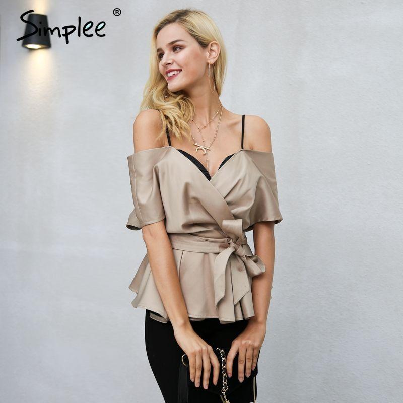 Simplee Sexy backless v neck blouse shirt women tops Sash bow satin shirt blouse Elegant zipper casual blusas female