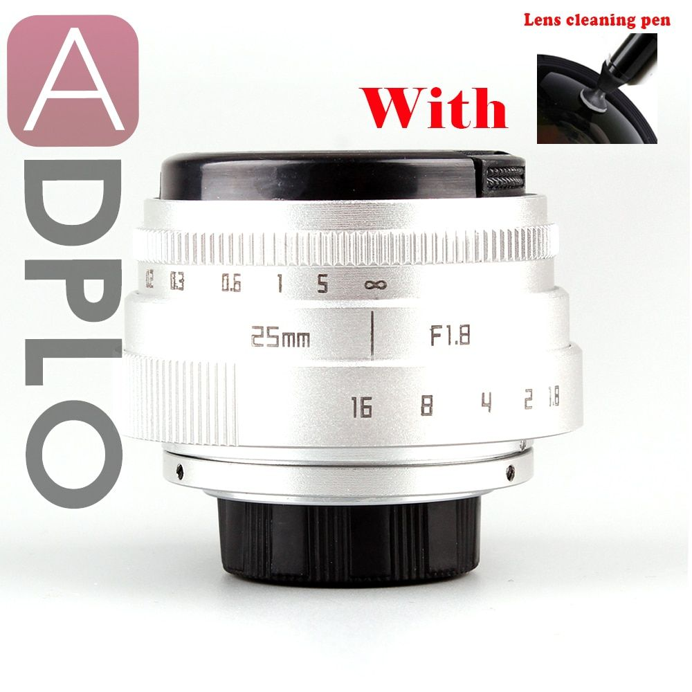 25mm F1.8 Camera Lens With cleaning Pen + Mini 25mm F1.8 APS-C Television TV Lens/CCTV Lens Suit For 16mm C Mount Camera
