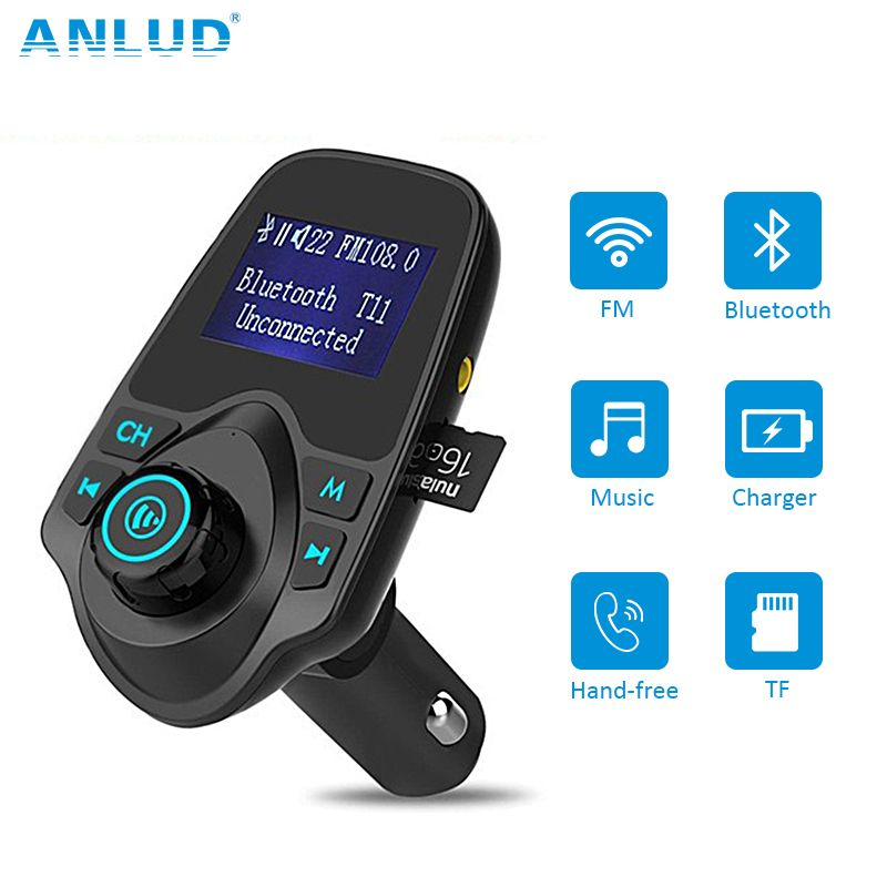 Wireless Bluetooth FM Transmitter FM <font><b>Modulator</b></font> HandsFree Car Kit Radio Adapter USB Charger MP3 Music Player For iPhone Samsung