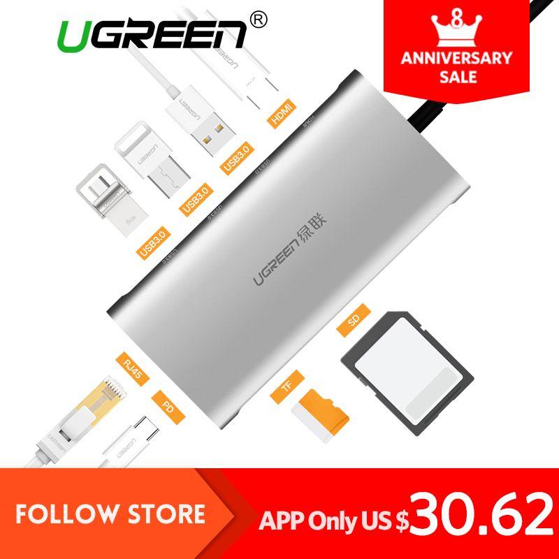 Ugreen hub USB todo en uno USB-C a HDMI VGA tarjetas RJ45 PD adaptador para MacBook samsung galaxy S8 /S8 +/S9 tipo C hub USB 3.0