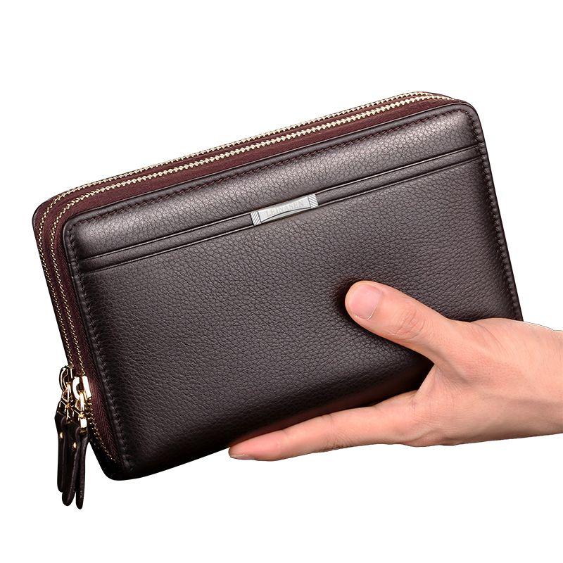2019 neue Männer Geldbörsen Lange Zipper Münze Pursewith Münze Tasche Für Männer Kupplung Business Männlichen Brieftasche Doppel-reißverschluss Vintage