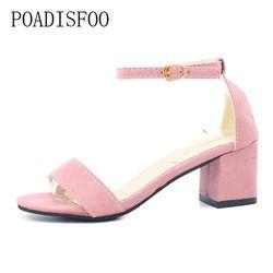 POADISFOO verano Mujer Sandalias abierto Toe Flip Flops mujer Tacón cuadrado Sandalias de tacón grueso mujeres zapatos gladiador zapatos. HS-977