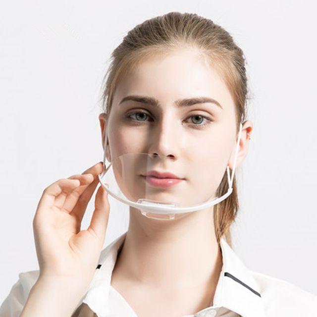 100Pcs Transparent Mask Food and Beverage Service Hotel Chef Anti Fog Plastic Smile Anti Fog Kitchen Sanitary Masks Report