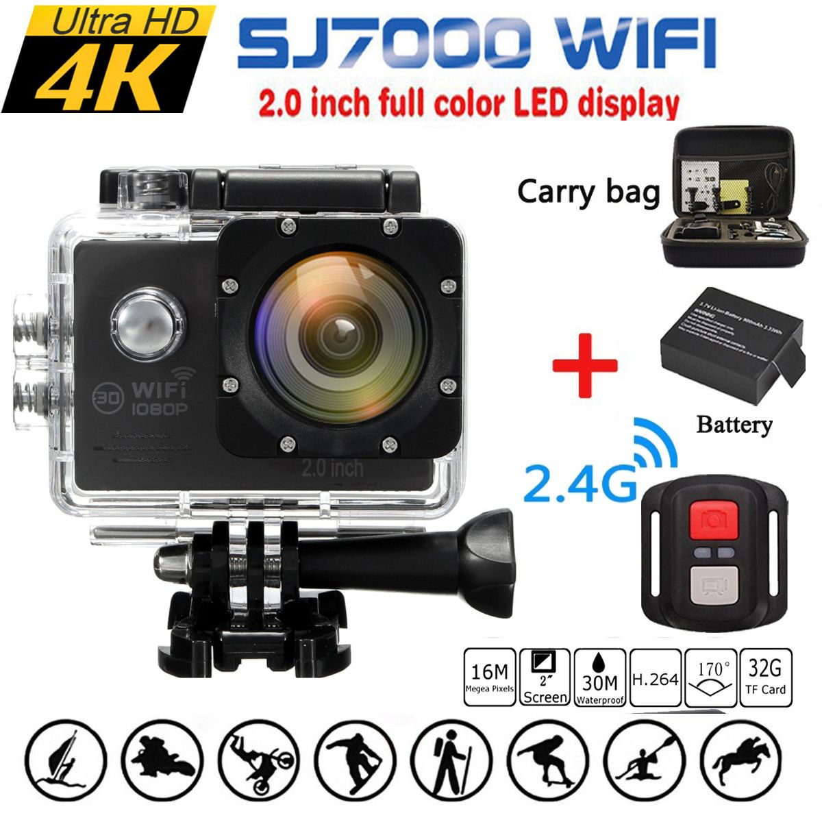 Waterproof 16MP Full HD 1080P WIFI 2.0 Inch Action Camera Sports DVR Camcorde+Remote+Box