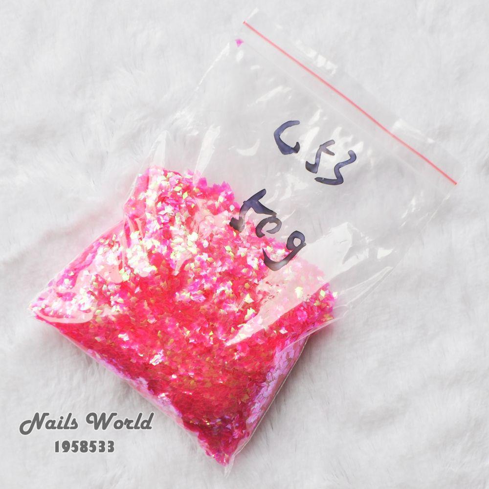 50g paquetes a granel Manicura Decoración rhombic paillette láser caliente Rosa glitters Clavos arte artesanía decoración color c53-50g