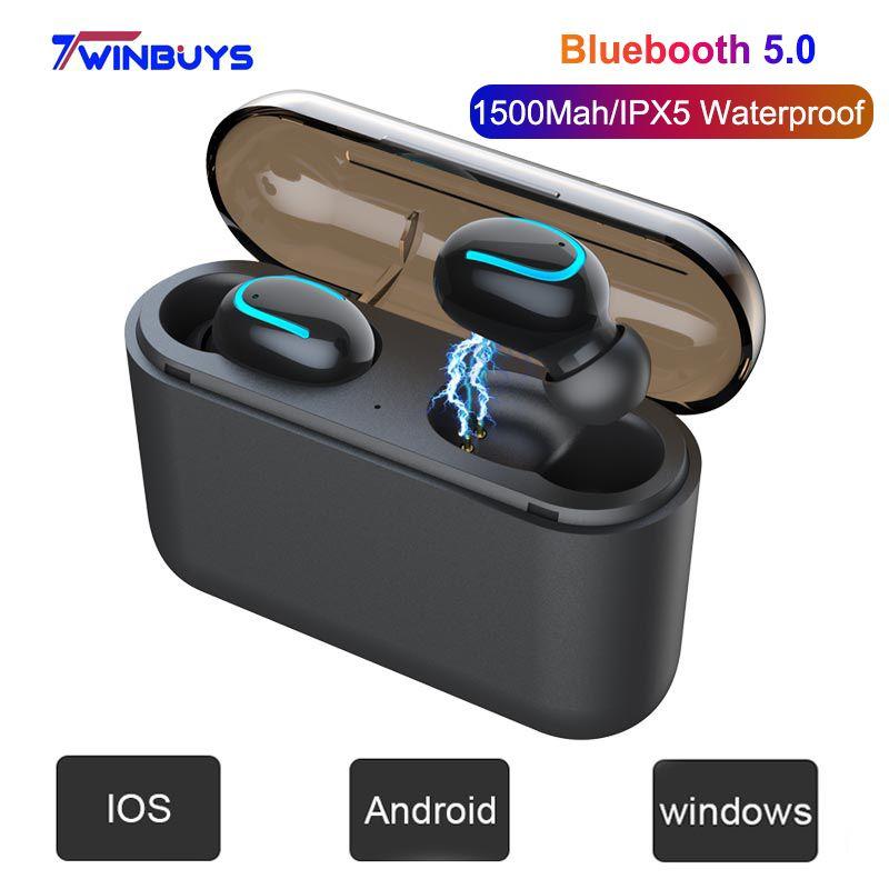Boîtier de charge ipx5 étanche pour écouteurs TWS sans fil Bluetooth 5.0 écouteurs mains libres casque musique Sport écouteurs HD MIC