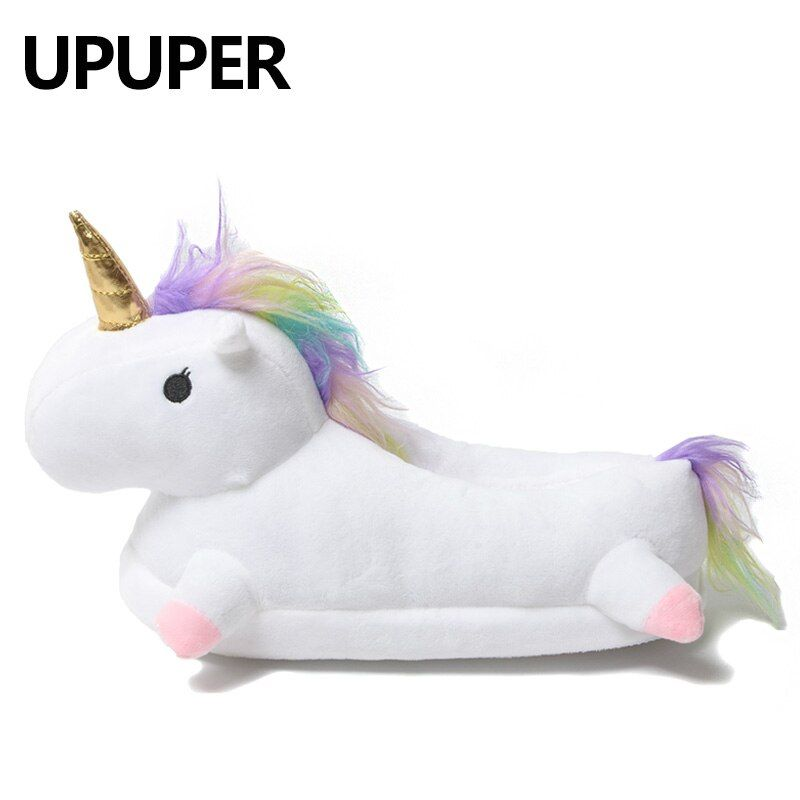 2018 Winter lovely Home Slippers Chausson Licorne White Shoes Women unicorn slippers animals pantuflas unicornio pantoufle femme